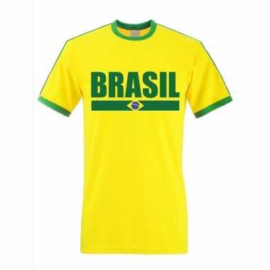 Geel/ groen brazilie supporter ringer t shirt heren