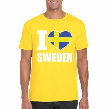 Geel i love zweden fan shirt heren