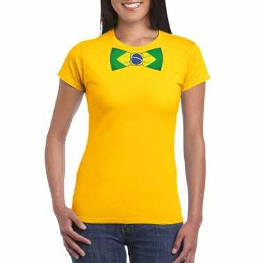 Geel t shirt brazilie vlag strikje dames