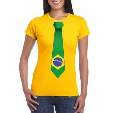 Geel t shirt brazilie vlag stropdas dames