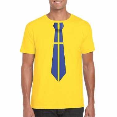 Geel t shirt zweden vlag stropdas heren