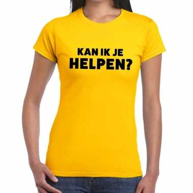 Geel tekst shirt kan ik je helpen bedrukking dames