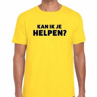 Geel tekst shirt kan ik je helpen bedrukking heren