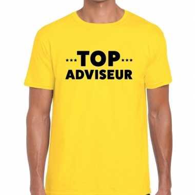 Geel tekst shirt top adviseur bedrukking heren