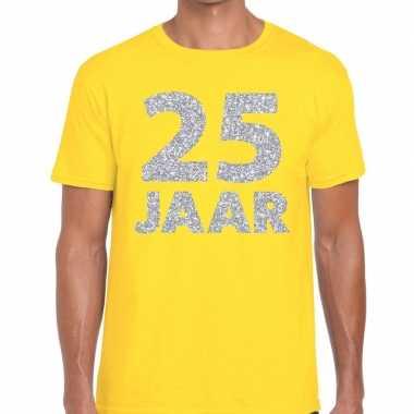 Geel vijfentwintig jaar verjaardag shirt geel heren zilveren bedrukki