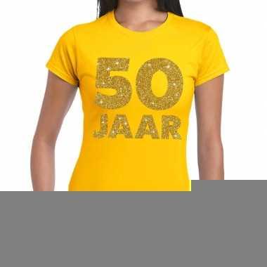 Geel vijftig jaar verjaardag shirt dames gouden bedrukking