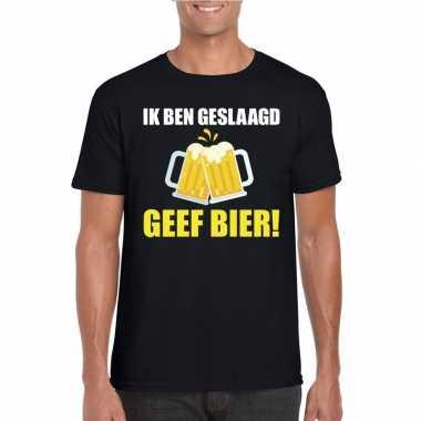 Geslaagd geef bier t shirt zwart heren