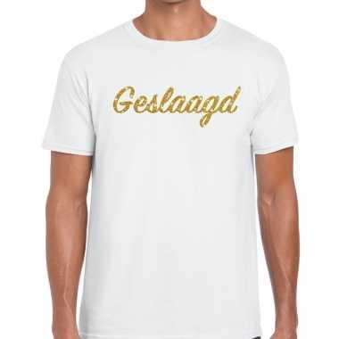 Geslaagd goud glitter tekst t shirt wit heren