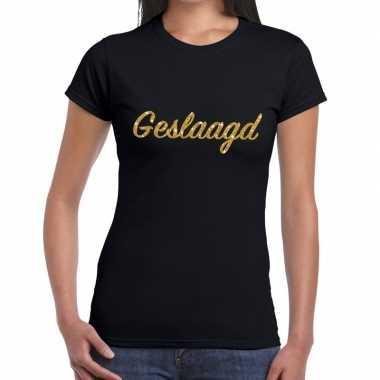 Geslaagd goud glitter tekst t shirt zwart dames