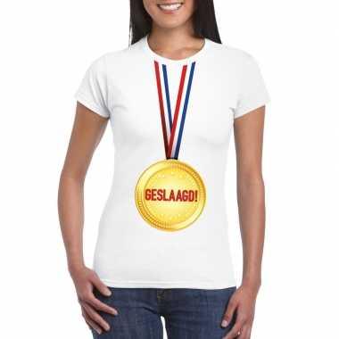 Geslaagd medaille t shirt wit dames