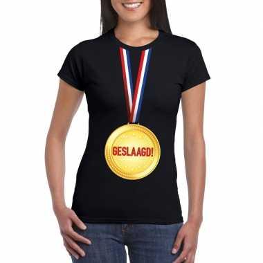 Geslaagd medaille t shirt zwart dames