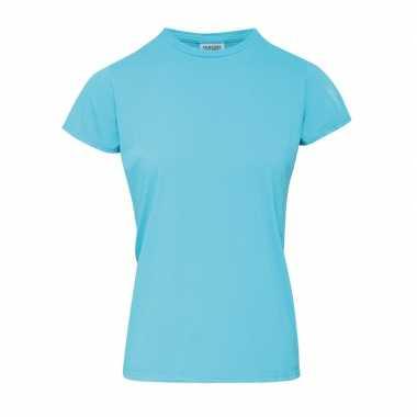 Getailleerde dames t shirt ronde hals blauwe