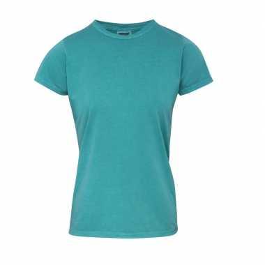 Getailleerde dames t shirt ronde hals groene