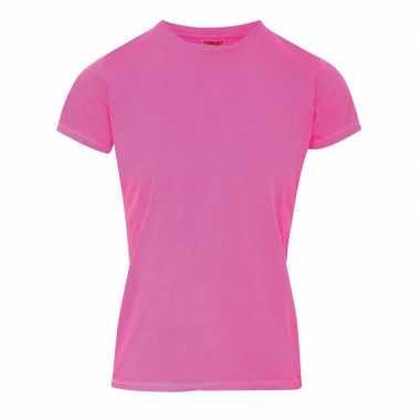 Getailleerde dames t shirt ronde hals roze