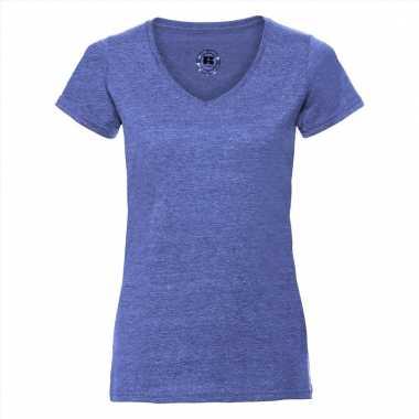 dfa02595e94 Getailleerde dames t shirt v hals blauw   Goedkope-t-shirts.nl