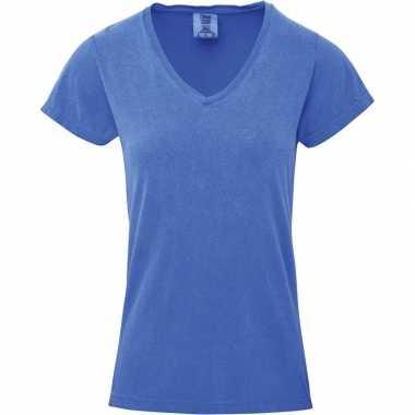 Getailleerde dames t shirt v hals blauwe