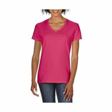 V Getailleerde Shirt Dames Hals Fuchsia T gxqpxnY