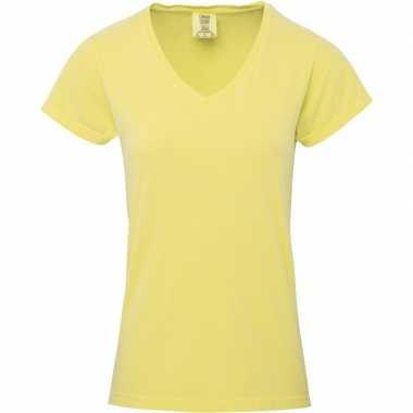 Getailleerde dames t shirt v hals gele