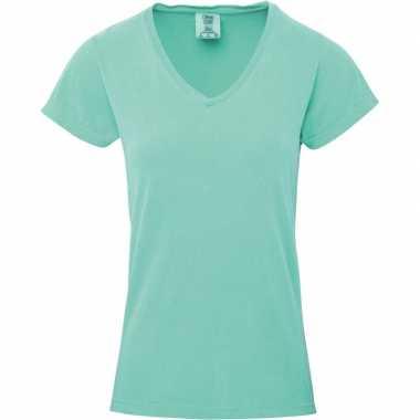Getailleerde dames t shirt v hals groene