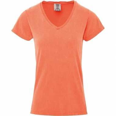 Getailleerde dames t shirt v hals oranje