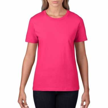 Getailleerde dameskleding t shirt ronde hals fuchsia roze