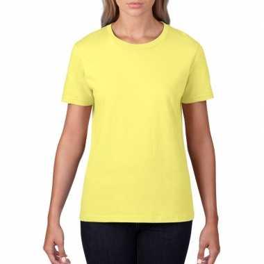 Getailleerde dameskleding t shirt ronde hals licht geel