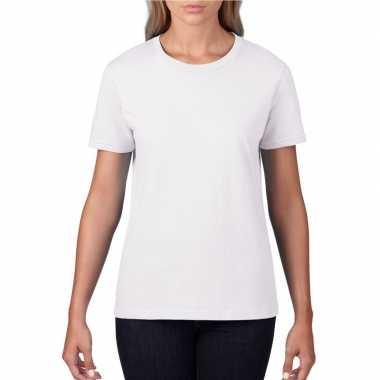 Getailleerde dameskleding t shirt ronde hals wit