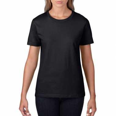 Getailleerde dameskleding t shirt ronde hals zwart