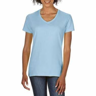 Getailleerde dameskleding t shirt v hals licht blauw