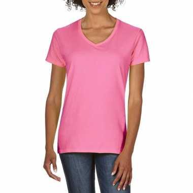Getailleerde dameskleding t shirt v hals licht roze