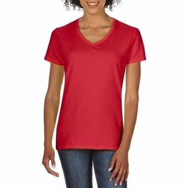 Getailleerde dameskleding t shirt v hals rood