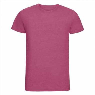 Getailleerde heren t-shirt ronde hals fuchsia