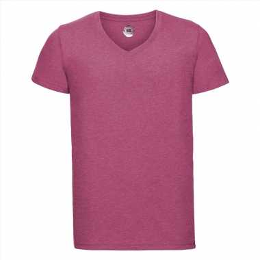 Getailleerde heren t-shirt v hals fuchsia