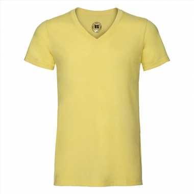 Getailleerde heren t-shirt v hals geel