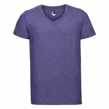 Getailleerde heren t-shirt v hals lila