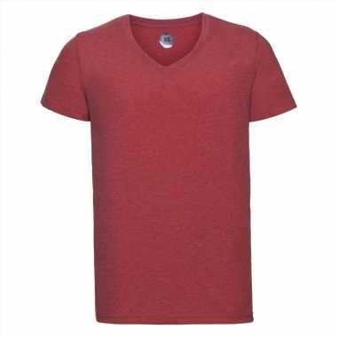 Getailleerde heren t-shirt v hals rood