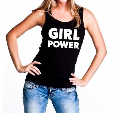 Girl power tanktop / mouwloos shirt zwart dames