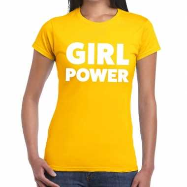 Girl power tekst t shirt geel dames