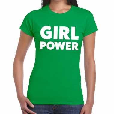 Girl power tekst t shirt groen dames