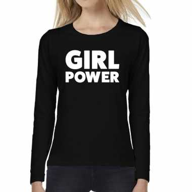 Girl power tekst t shirt long sleeve zwart dames