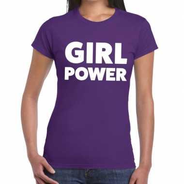 Girl power tekst t shirt paars dames