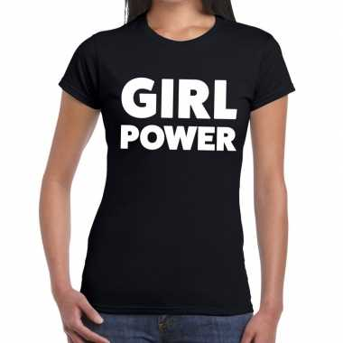 Girl power tekst t shirt zwart dames