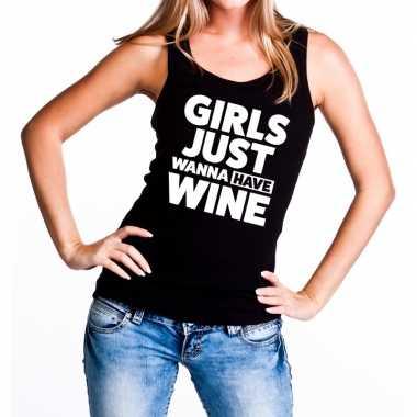 Girls just wanna have wine tanktop / mouwloos shirt zwart dames