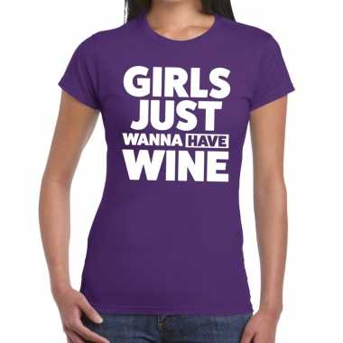 Girls just wanna have wine tekst t shirt paars dames