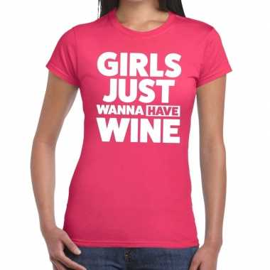 Girls just wanna have wine tekst t shirt roze dames