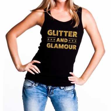 Glitter and glamour glitter tanktop / mouwloos shirt zwart dames
