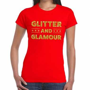 Glitter and glamour glitter tekst t shirt rood dames