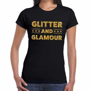 Glitter and glamour glitter tekst t shirt zwart dames
