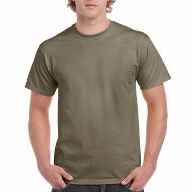 Goedkope gekleurde shirts kaki volwassenen