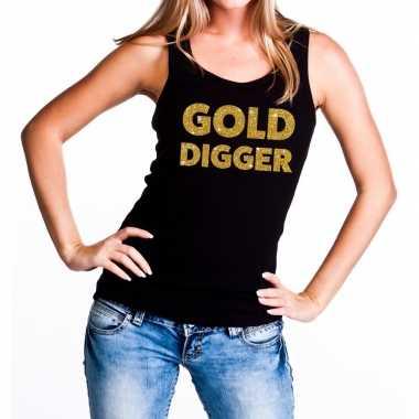 Gold digger glitter tanktop / mouwloos shirt zwart dames